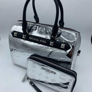 Michael Kors Kara Satchel w/ Phone Case In Silver